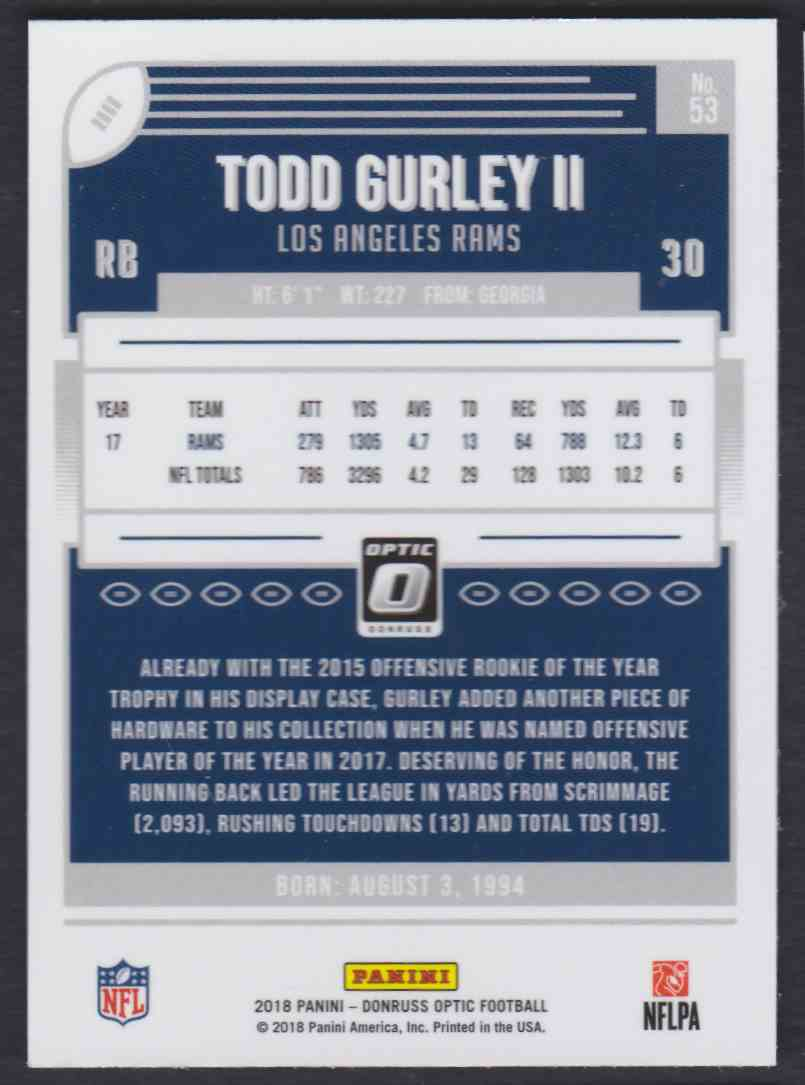 2018 Donruss Optic Todd Gurley II #53 card back image