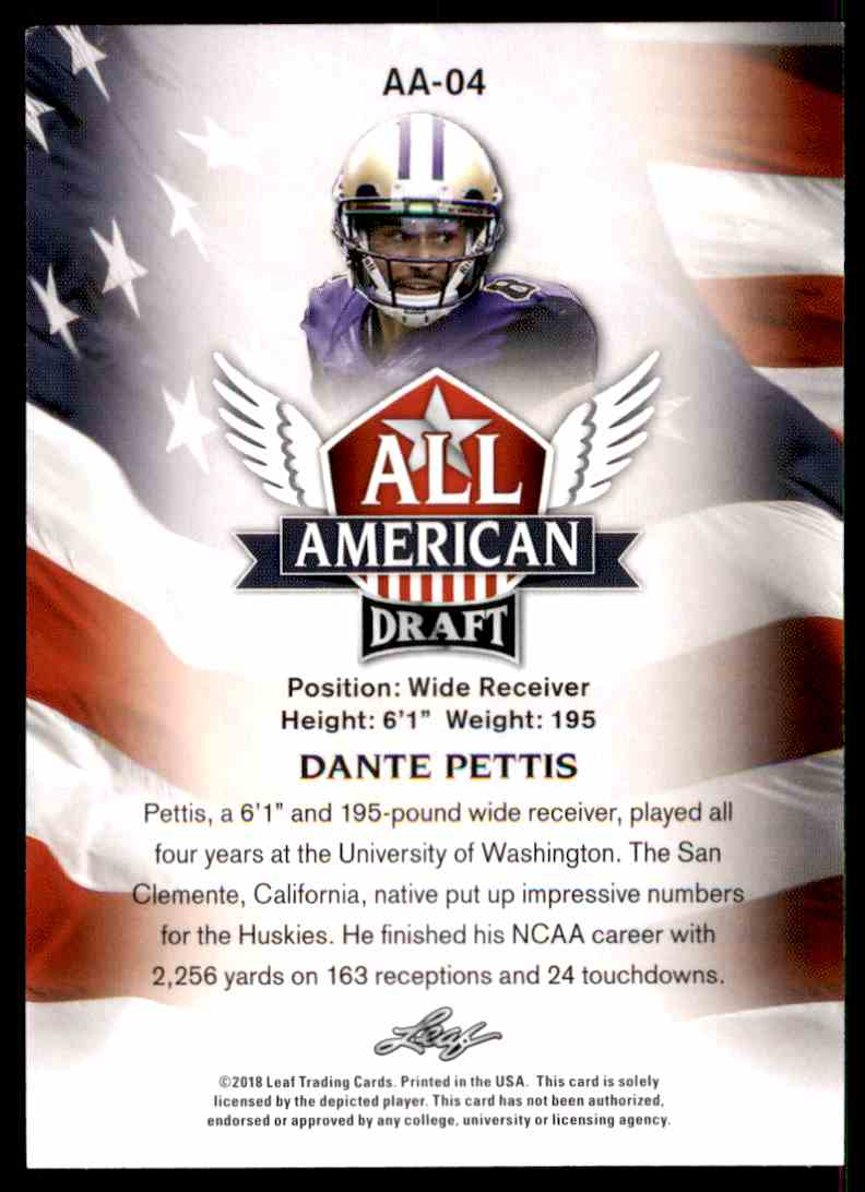 2018 Leaf Draft Dante Pettis #AA-04 card back image