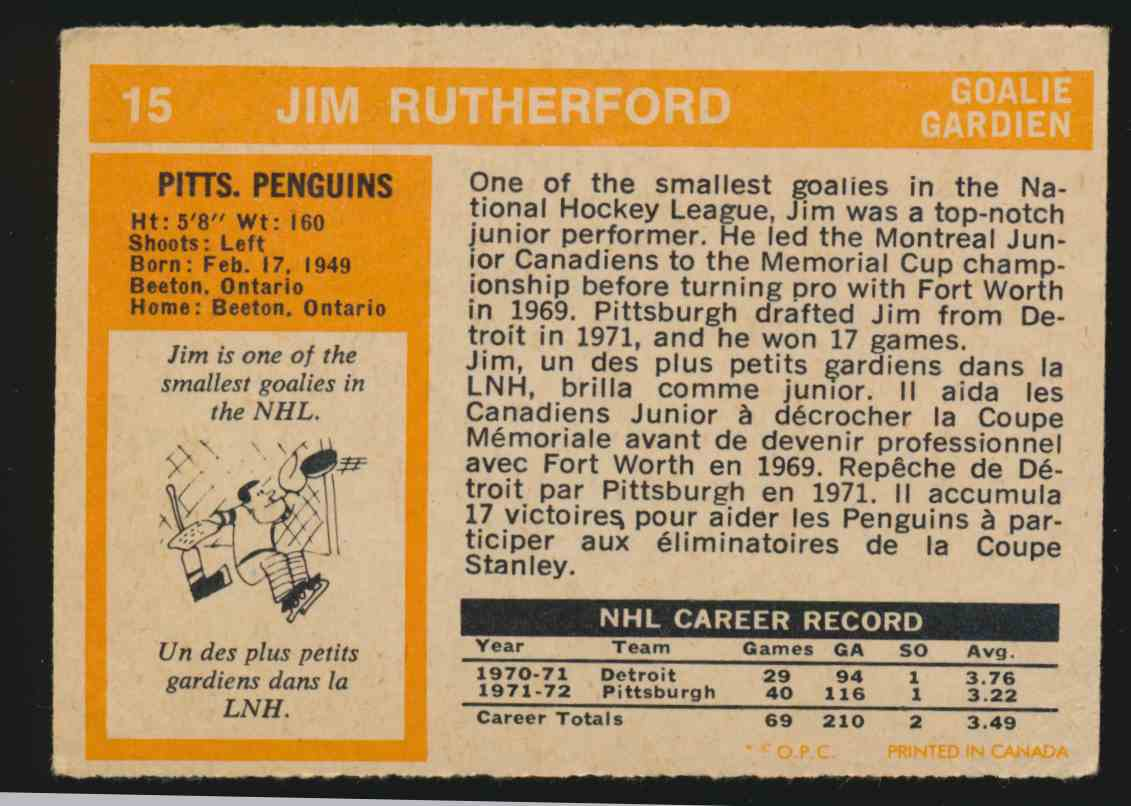 1972-73 0-Pee-Chee Jim Rutherford #15 card back image
