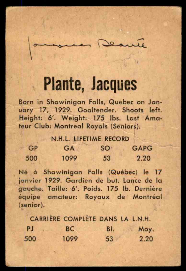 1962-63 Parkhurst Jacques Plante #49 card back image