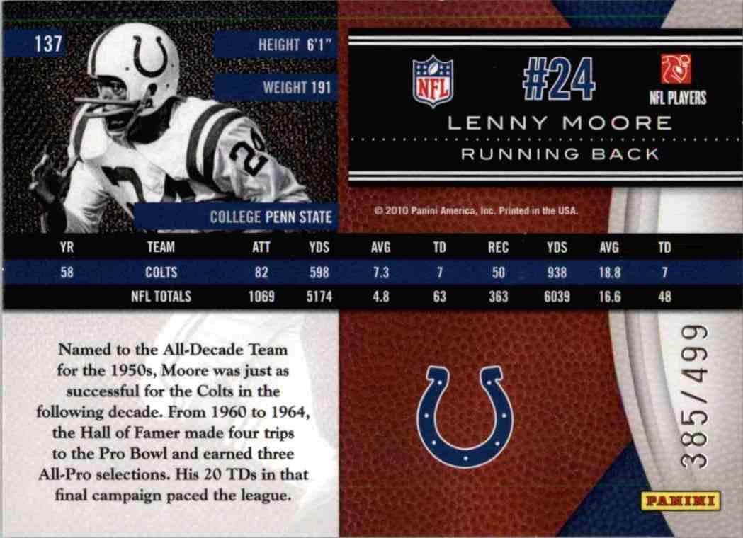 2010 Leaf Limited Legend Lenny Moore #137 card back image