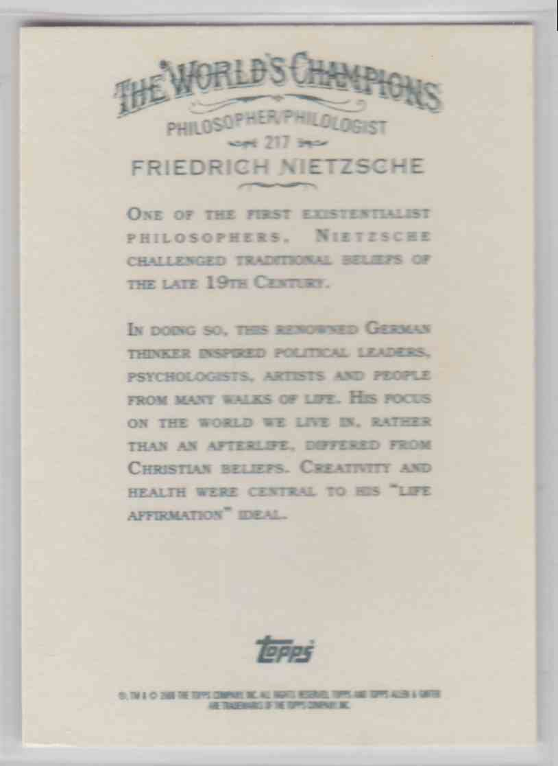 2008 Topps Allen And Ginter Friedrich Nietzsche #217 card back image