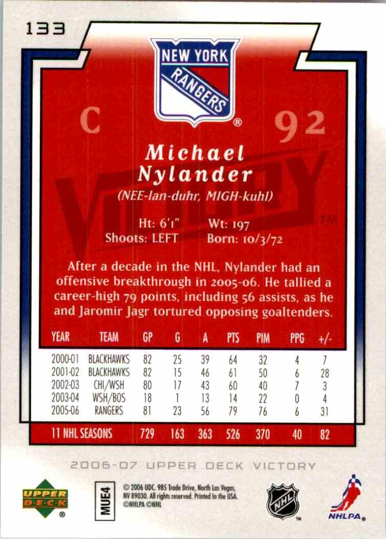 2006-07 Upper Deck Victory Gold Michael Nylander #133 card back image
