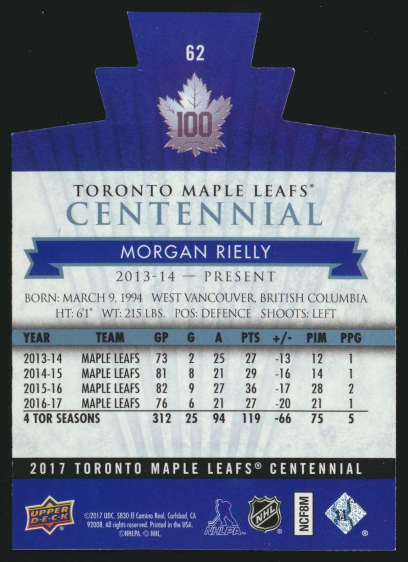 2017-18 UD Maple Leafs Centennial Die Cut Morgan Rielly #62 card back image
