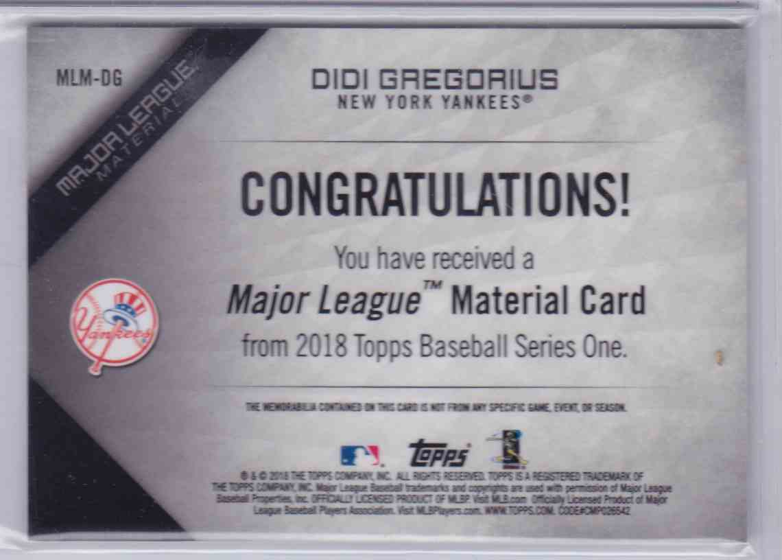 2018 Topps Major League Material DIDI Gregorius #MLM-DG card back image
