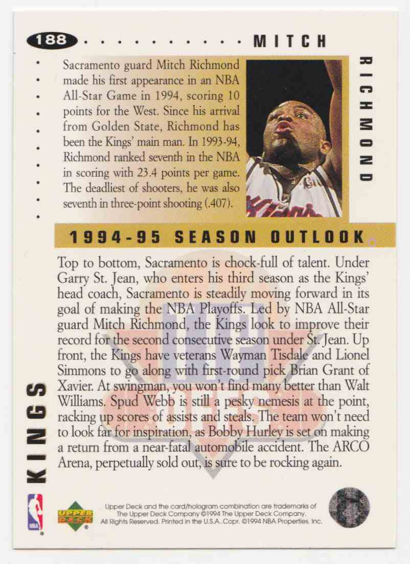 1994-95 Upper Deck Collector's Choice Base Mitch Richmond #188 card back image
