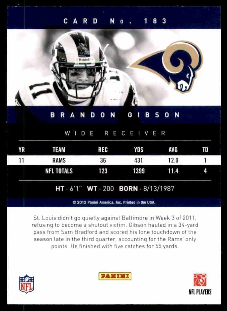 2012 Prestige Brandon Gibson #183 card back image