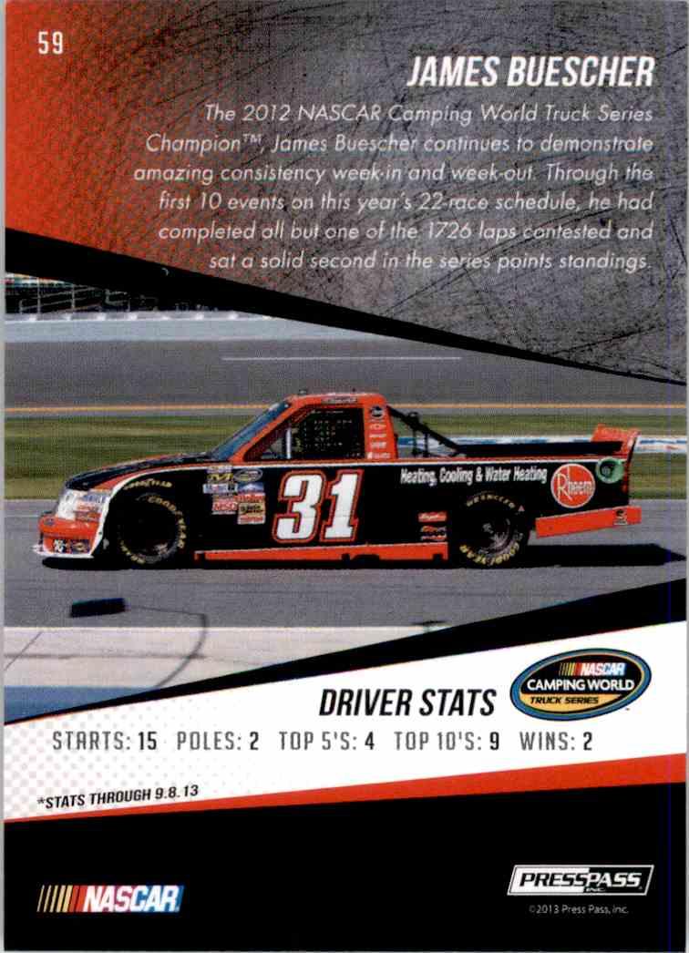 2014 Press Pass James Buescher #59 card back image