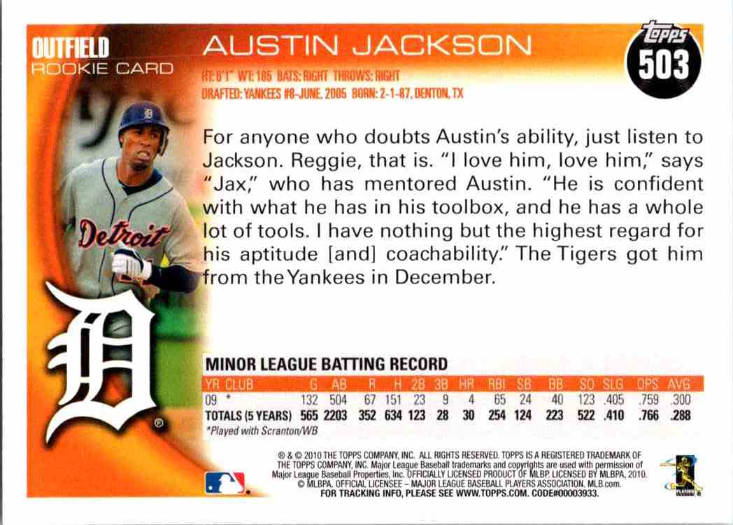 2010 Topps Austin Jackson #503 card back image