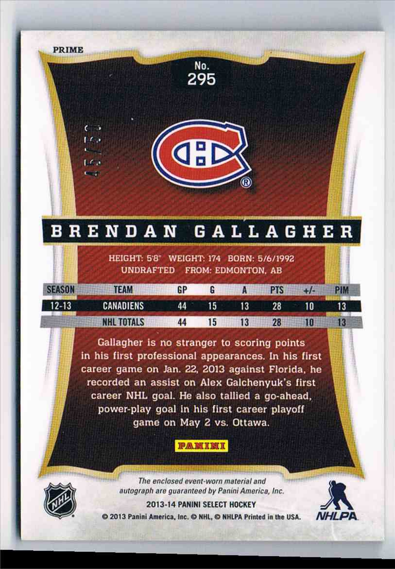 2013-14 Panini Select Rookies Jersey Autographs Prime Brendan Gallagher #295 card back image