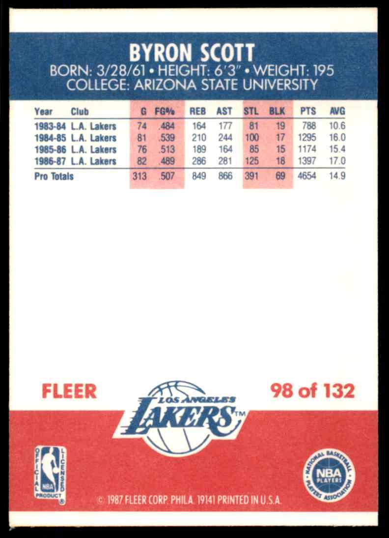 1987-88 Fleer Basketball Byron Scott #98 card back image
