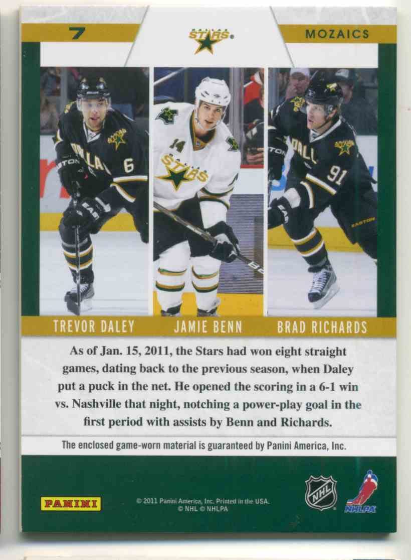 2011-12 Pinnacle Zenith Mozaics Materials Trevor Daley Jamie Benn Brad Richards #7 card back image