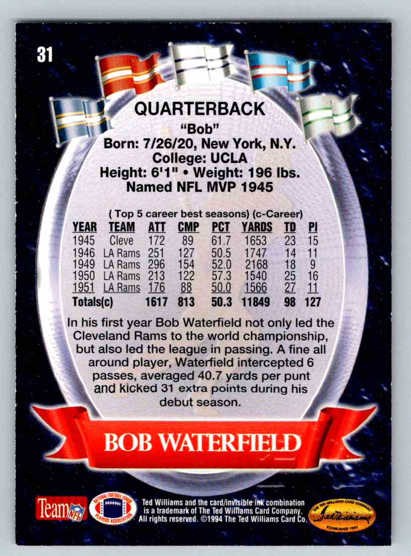 1994 Ted Williams Bob Waterfield #31 card back image