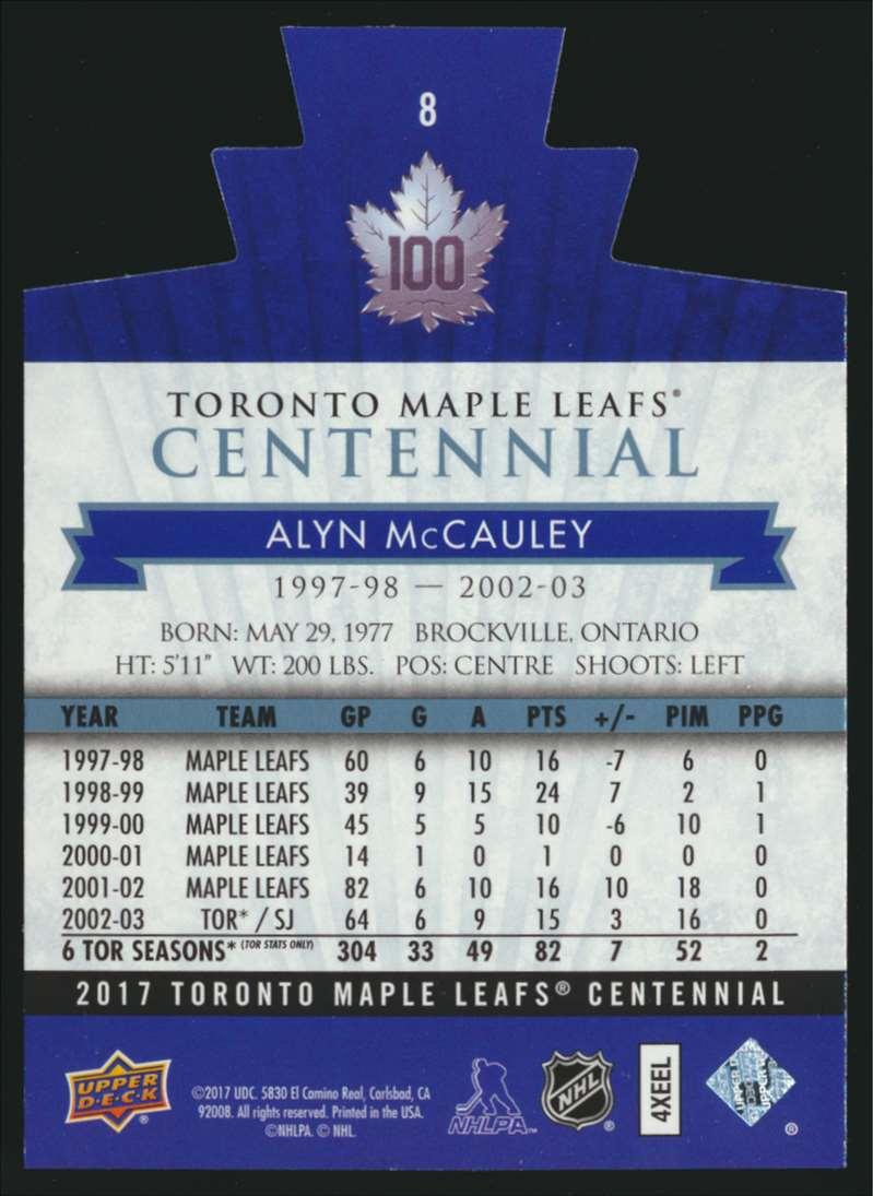 2017-18 UD Maple Leafs Centennial Die Cut Alyn McCauley #8 card back image