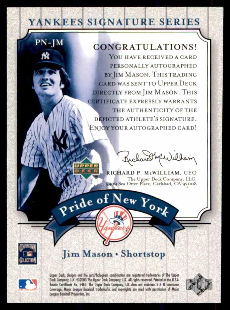 2003 Upper Deck Yankees Siganture Series Jim Mason card back image