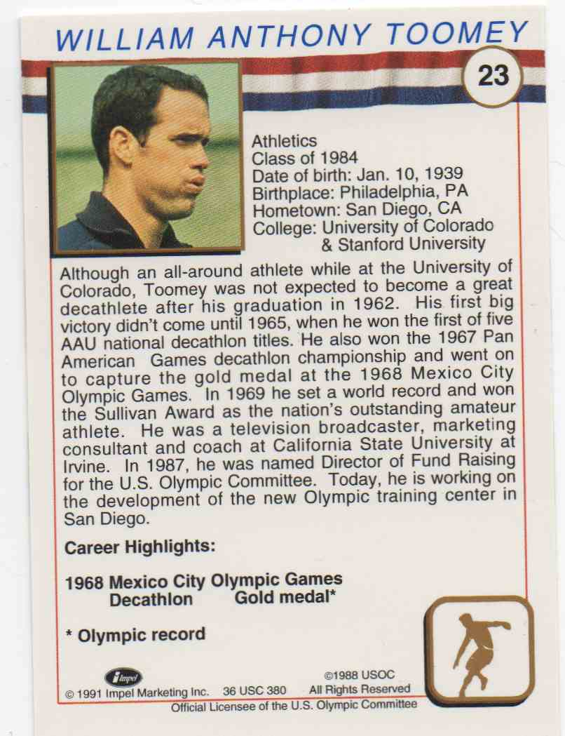 1991 Impel U.S. Olympic Hall Of Fame Bill Toomey #23 card back image