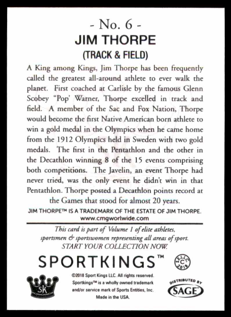 2018 Sportkings Black Back Retail Jim Thorpe #6 card back image