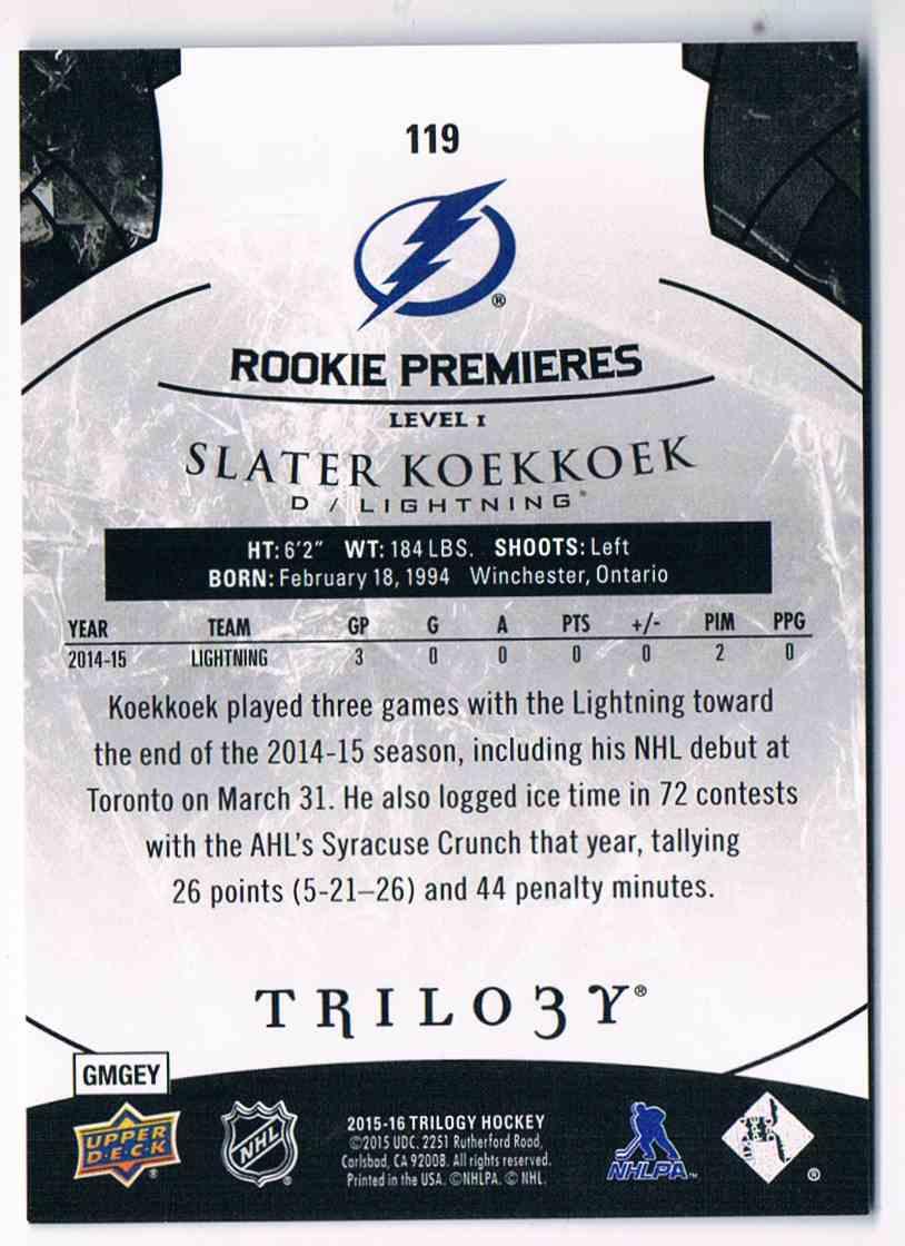 2015-16 Upper Deck Trilogy Rainbow Black Rookie Premieres Slater Koekkoek #119 card back image