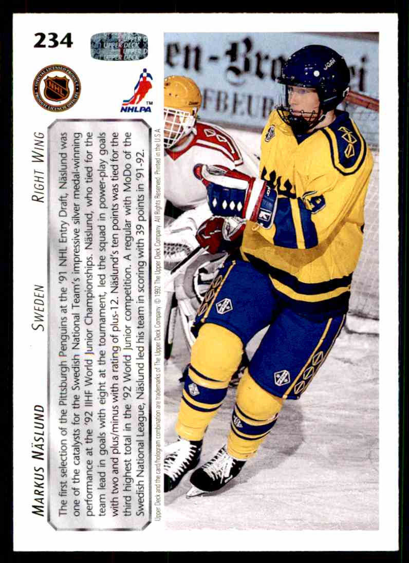 1992-93 Upper Deck ! Markus Naslund #234 card back image