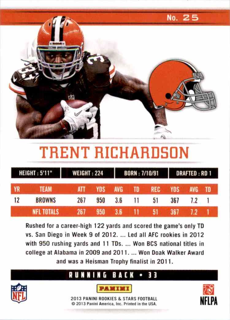 2013 Rookies And Stars Longevity Trent Richardson #25 card back image