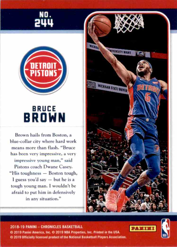 2018-19 Panini Chronicles Bruce Brown/Marquee #244 card back image