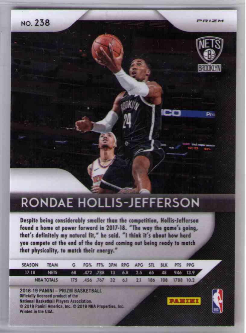 2018-19 Prizm Silver Prizms Refractor SP Rondae Hollis-Jefferson #238 card back image
