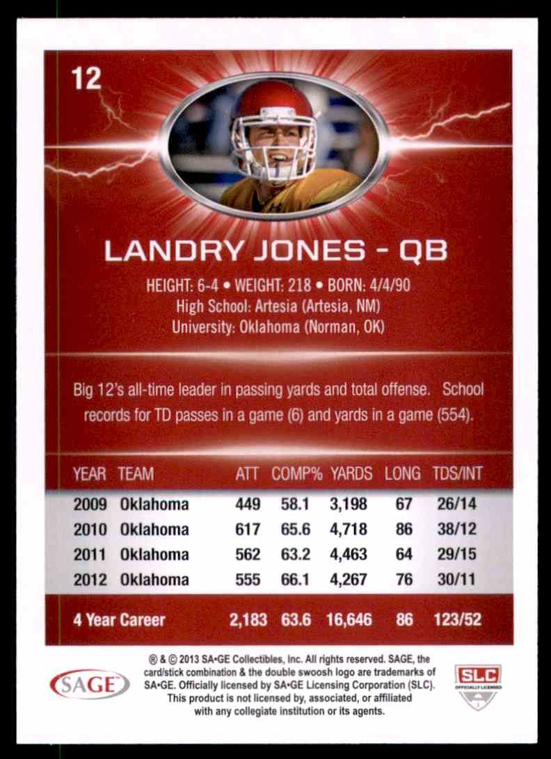 2013 Sage Hit Landry Jones #12 card back image