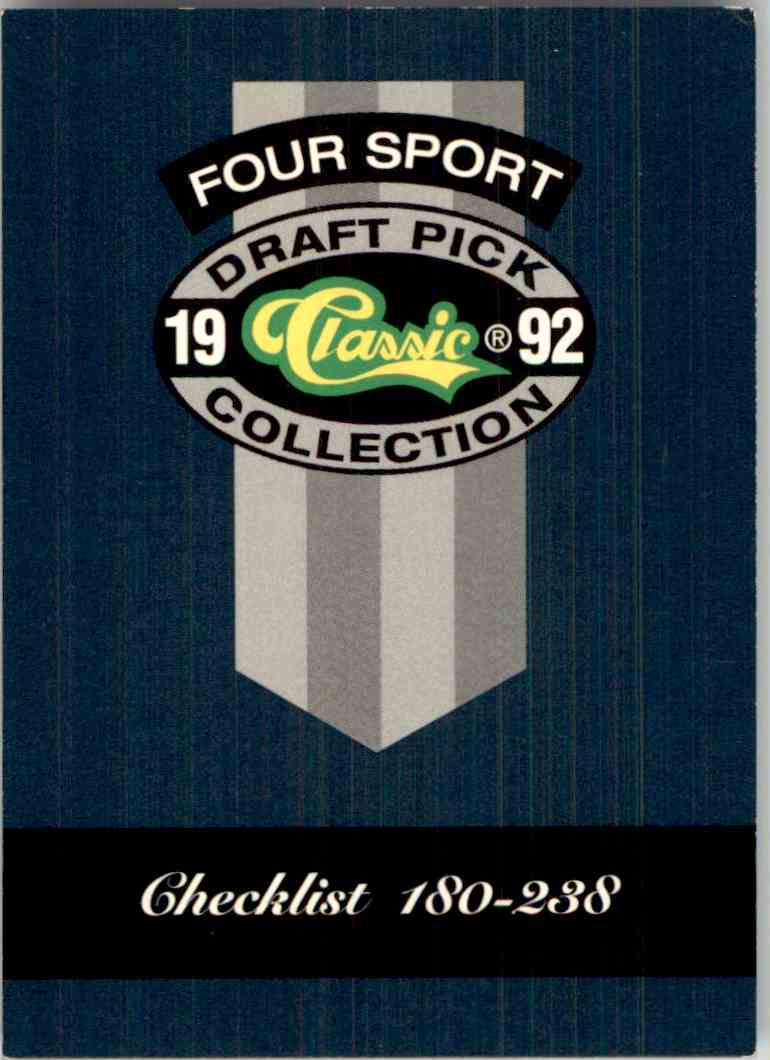 1992-93 Classic Four Sport Checklist #328 card front image