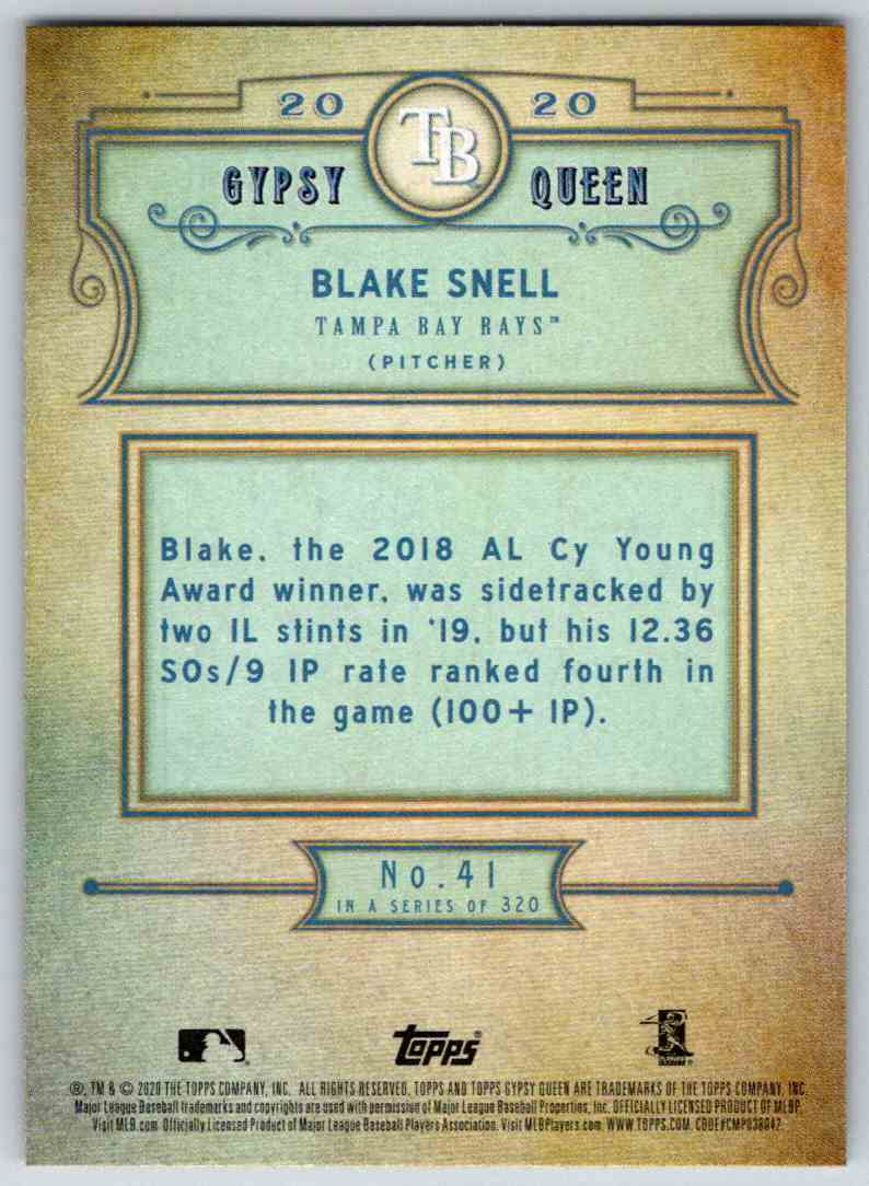 2020 Topps Gypsy Queen Base Blake Snell #41 card back image