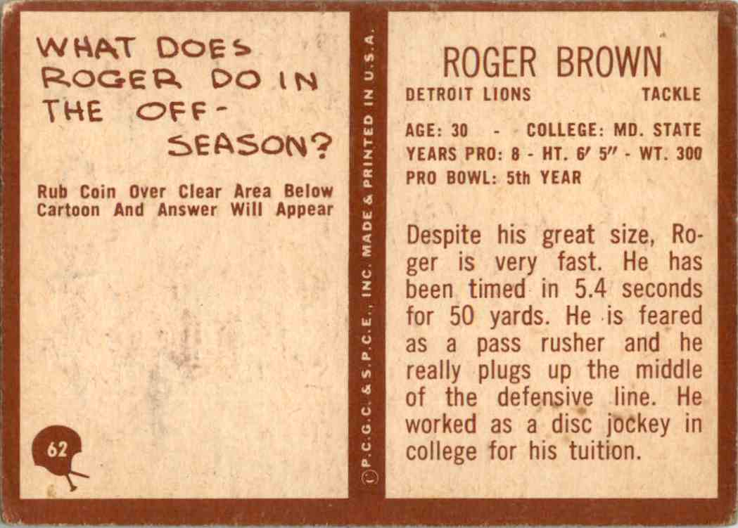 1967 Philadelphia Roger Brown #62 card back image
