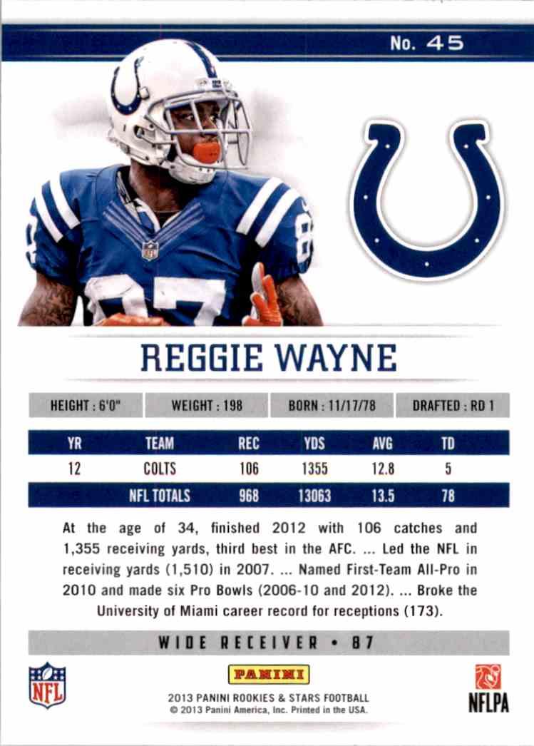 2013 Rookies And Stars Longevity Reggie Wayne #45 card back image