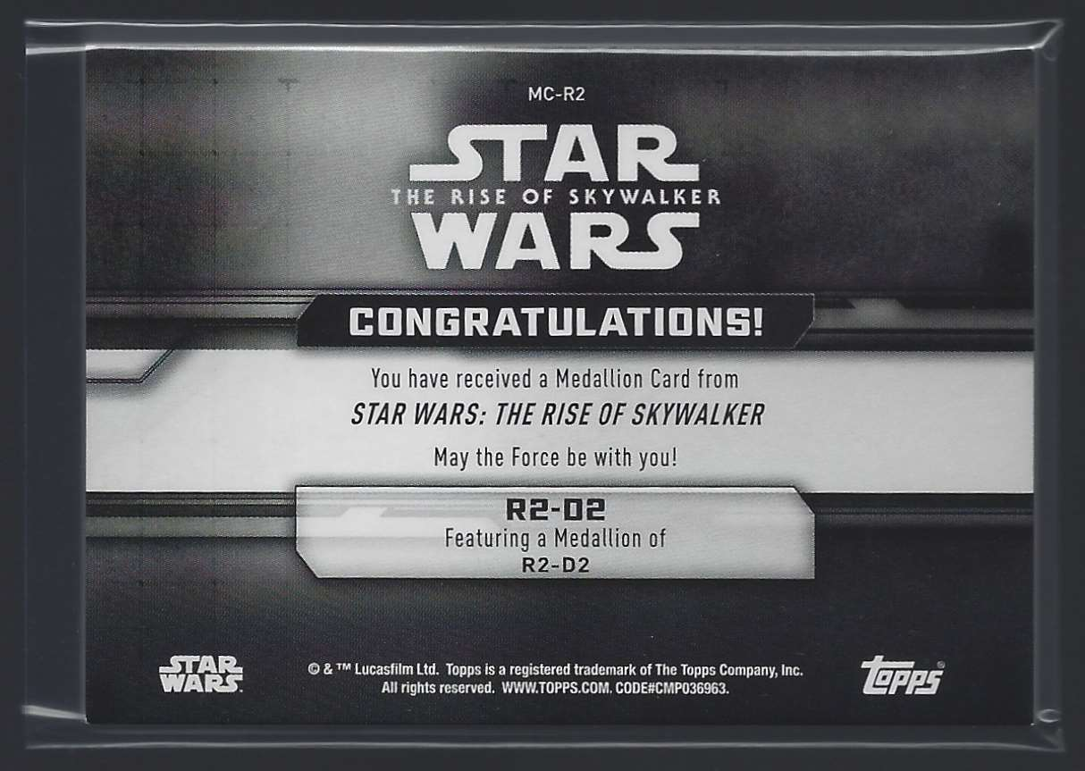 2019 Star Wars The Rise Of Skywalker Series One Commemorative Medallions R2-D2 #MCR2 card back image