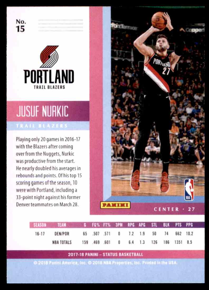 2017-18 Panini Status Jusuf Nurkic #15 card back image