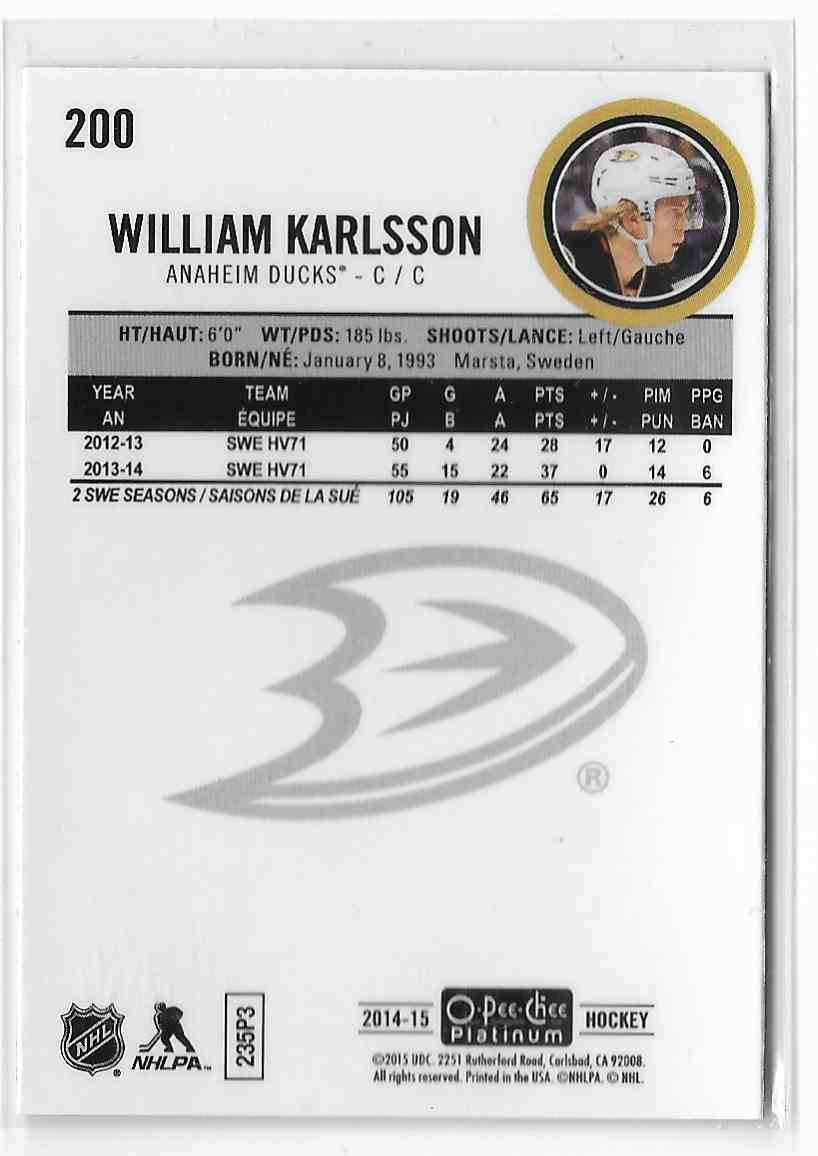 2014-15 O-Pee-Chee Platinum William Karlsson #200 card back image