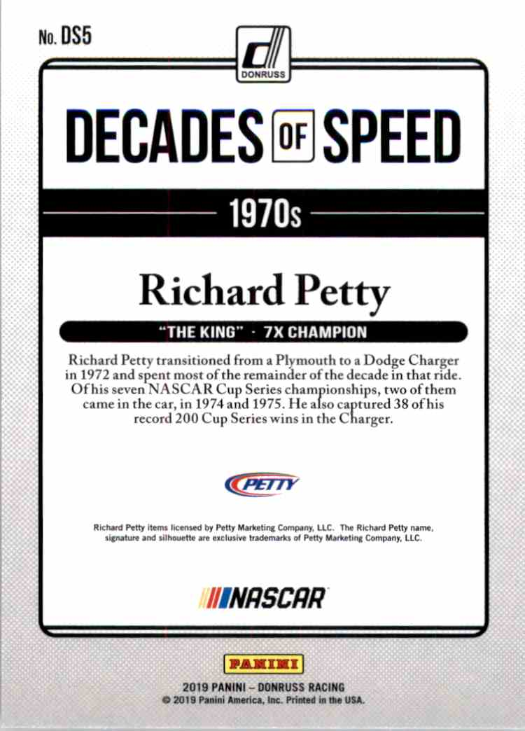 2019 Donruss Decades Of Speed Richard Petty #DS5 card back image