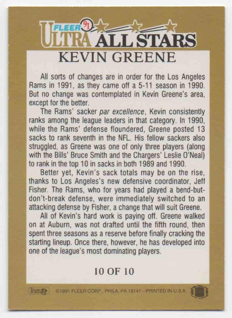 1991 Ultra All Stars Kevin Greene #10 card back image