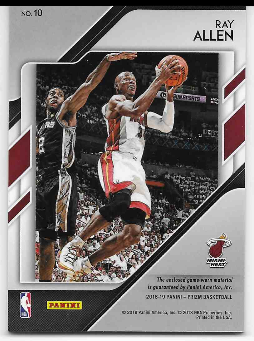2018-19 Panini Prizm Sensational Swatches Ray Allen #10 card back image