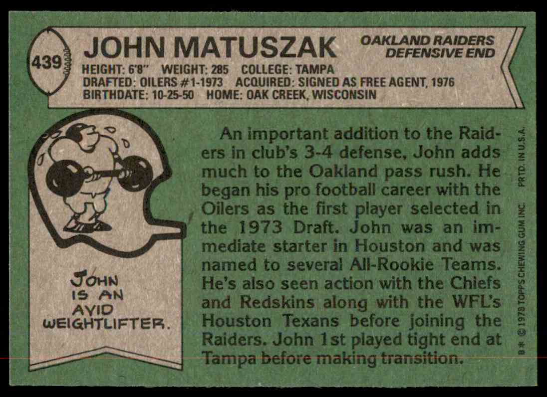 1978 Topps Football John Matuszak #439 card back image