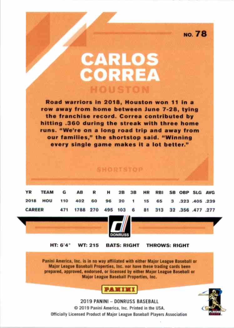 2019 Donruss Carlos Correa #78 card back image
