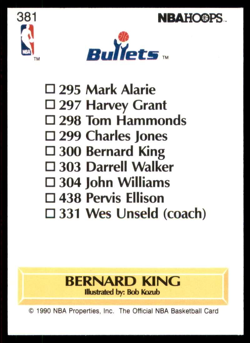 1990-91 Hoops Bernard King Tc #381 card back image