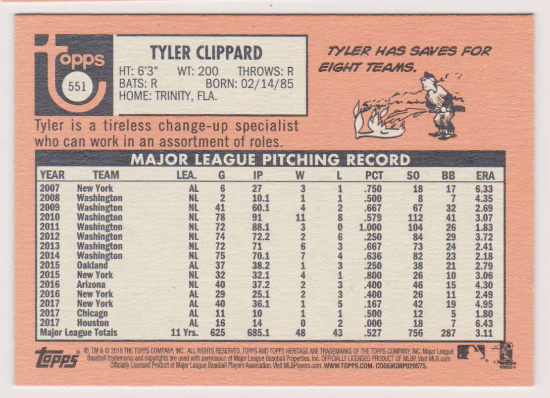 2018 Topps Heritage Tyler Clippard #551 card back image