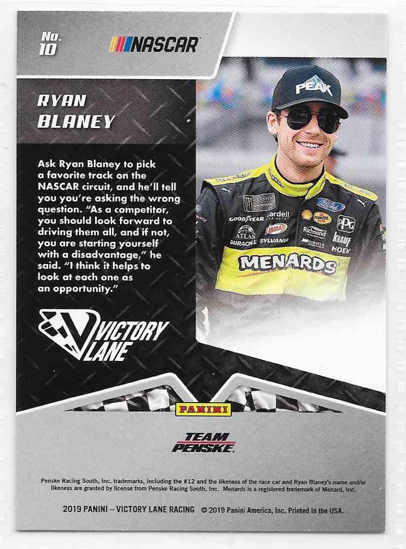 2019 Victory Lane Base Ryan Blaney #10 card back image
