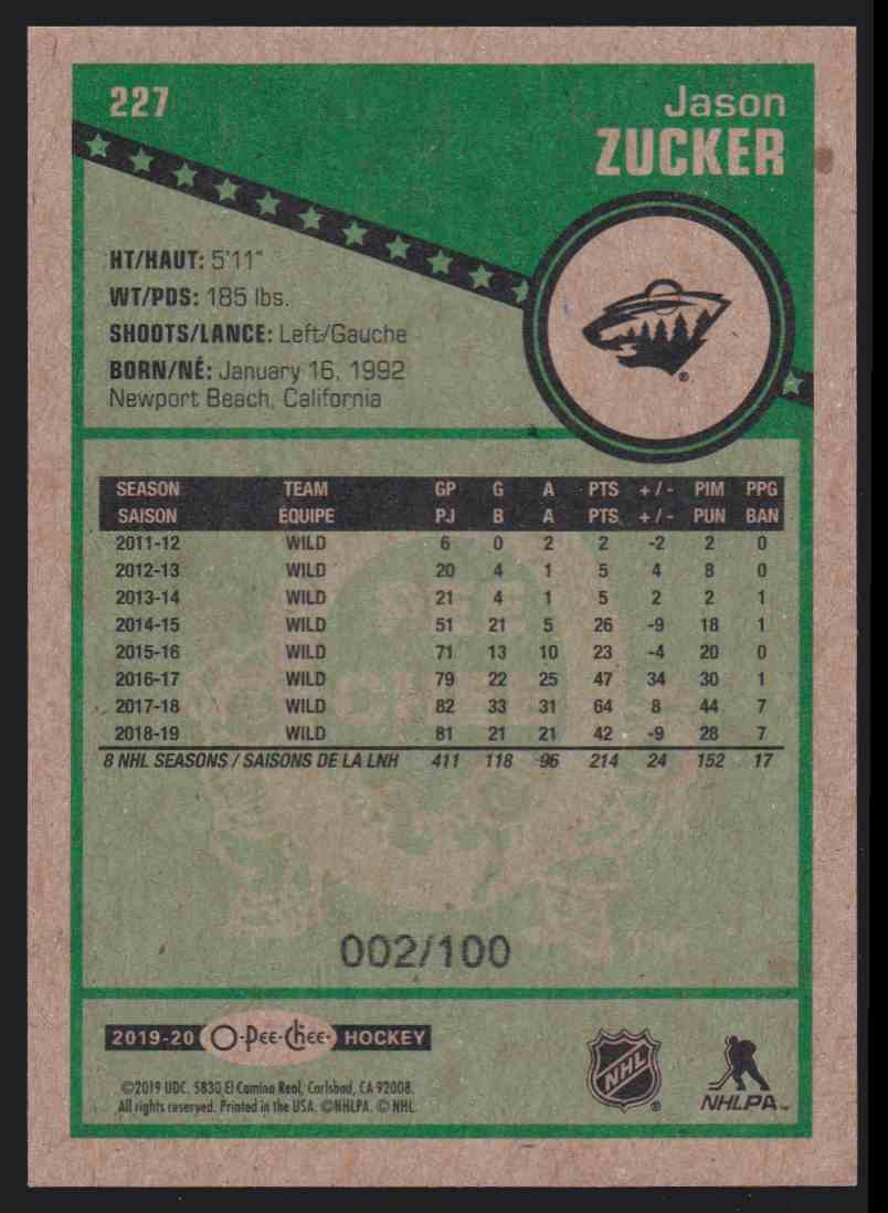 2019-20 Upper Deck Hockey O-Pee-Chee Jason Zucker - Black Retro #227 card back image