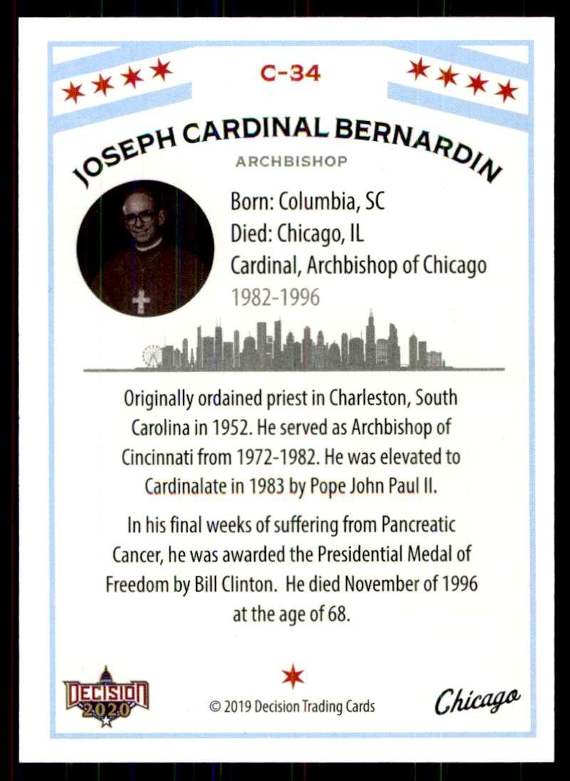 2020 Decision Chicago Poltiics Joseph Cardinal Bernardin #C-34 card back image