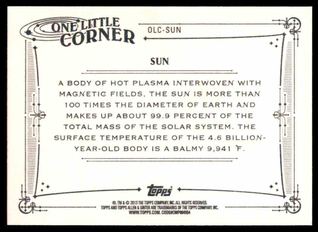2013 Topps Allen And Ginter One Little Corner Sun #SUN card back image