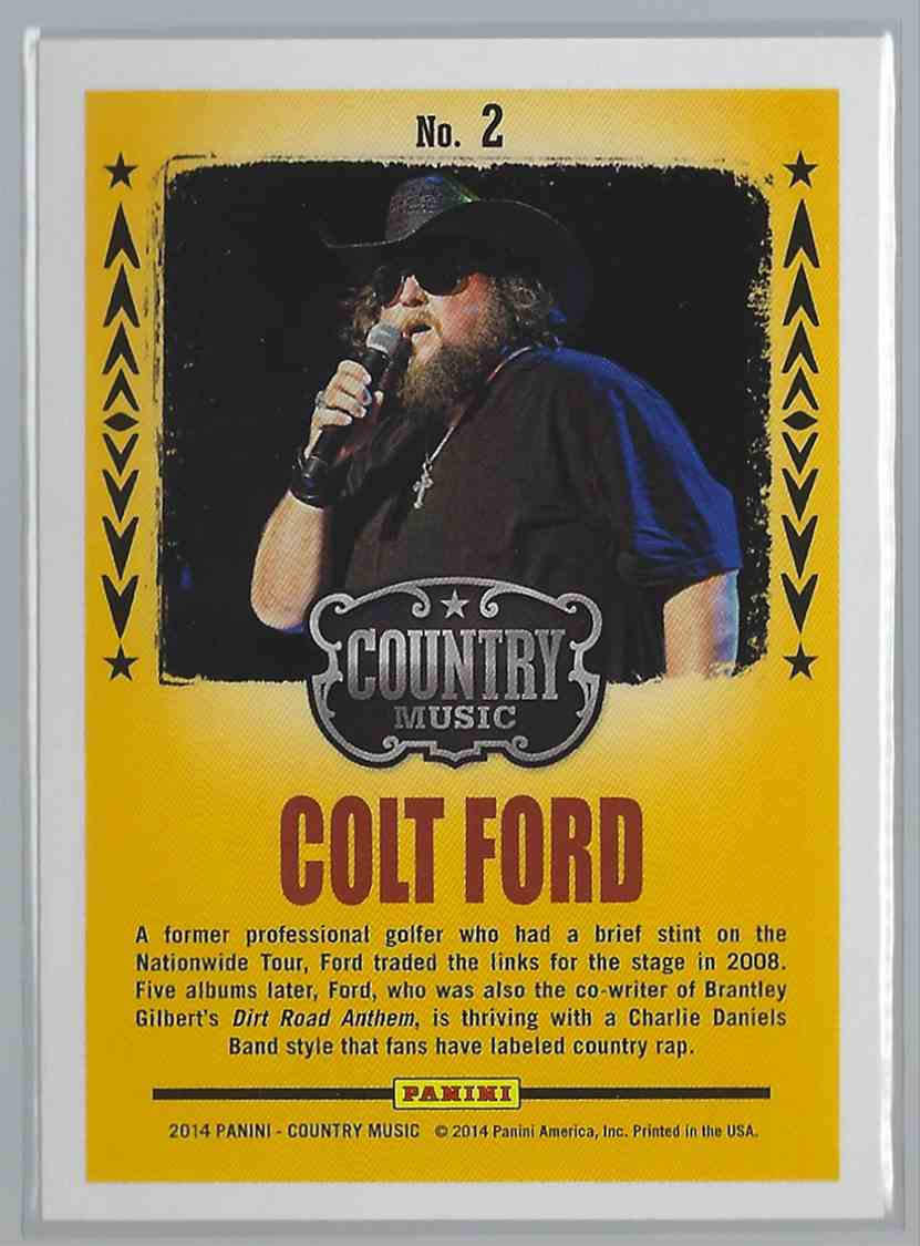 2015 Country Music Backstage Pass Purple Colt Ford #2 card back image