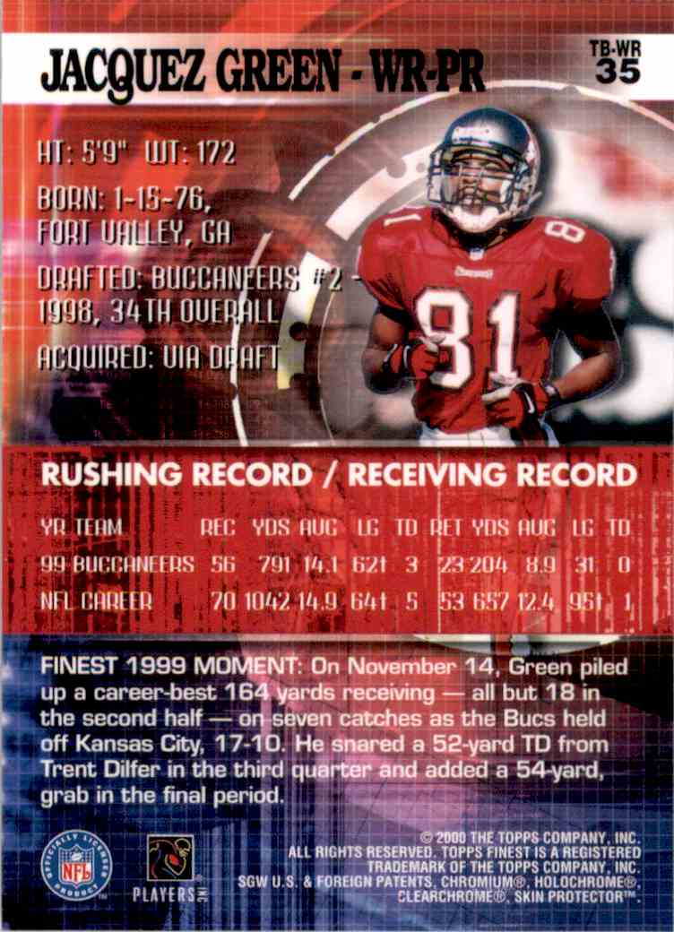 2000 Finest Jacquez Green #35 card back image