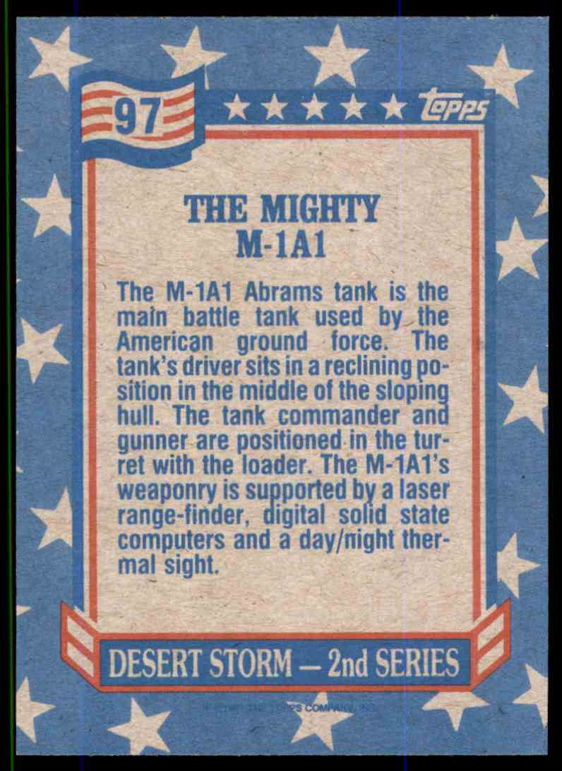 1991 Desert Storm Topps The Mighty M-1A1 #97 card back image