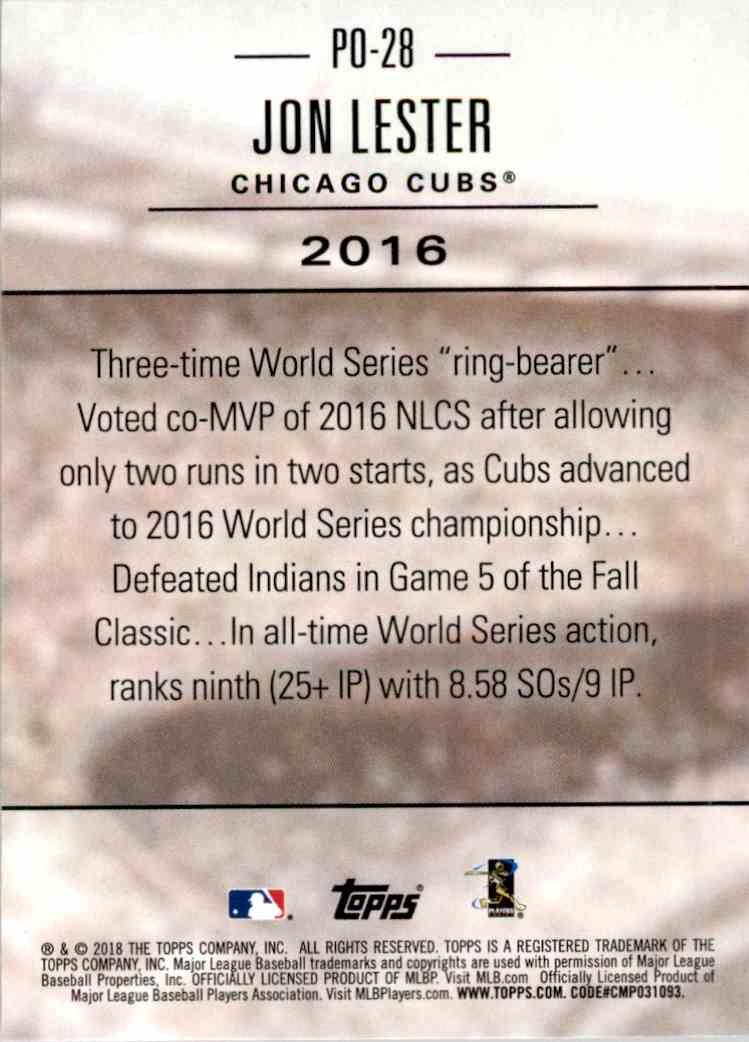 2018 Topps Post Season Jon Lester #PO-28 card back image