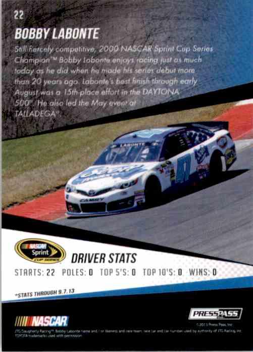 2014 Press Pass Bobby Labonte #22 card back image